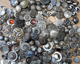 160 Vintage Silver Tone Metal Buttons Craft Lot