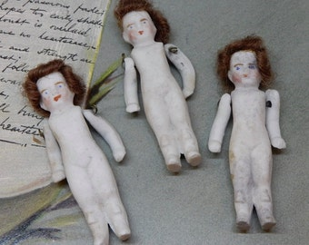 3 Antique Tiny Frozen Charlotte Style Miniature Bisque Dolls w/ Real Hair