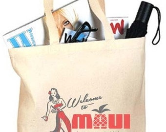 20+ Welcome to Maui Hula Girl Custom Canvas Wedding Tote Bags - Eco-Friendly Natural Cotton Canvas