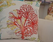 Beach Decor Red Coral and Sea Turtle Ocean Reef  Pillow - Throw Pillow - Coastal Decor