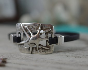 Silver Double Starfish Bracelet - Leather Jewelry - Beach Bracelet
