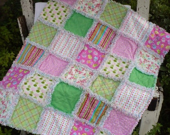 Baby Girl Rag Crib Quilt- Fresh and Modern Dots Flowers and Owls in Bright Pink Turquoise and Apple Green Ready to Ship