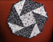 Winter origami table topper quilted octagonal topper