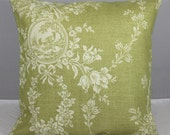Custom Order for Two Pillow Cover  Waverly Dill Green and Beige Country House Toile   18x18 inches