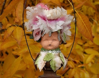 ON SALE Jeweled Rhinestones Jewelry Fairy Sprite Mini Muse Altered Art Woodsy Garden Doll Ornament - Garden Pixie
