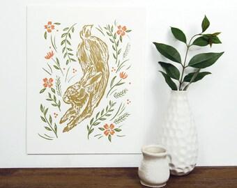 Golden Rabbit Letterpress Art Print
