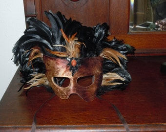Vintage Large Masquerade Mask with Black & Brown Feathers handmade Florida Keys