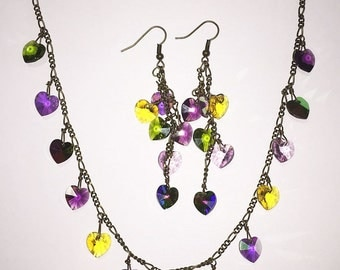JBB Purple Green inspired by Pididdly Links Mardi Gras Colors Swarovski Hearts Charm Necklace Earrings