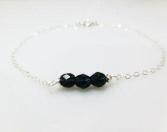 Beaded Bracelet - Midnight Blue czech beads. Everyday Jewelry by smoketabby.