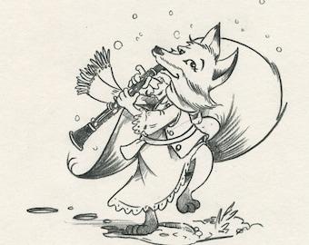 Fox Playing Clarinet Sketch