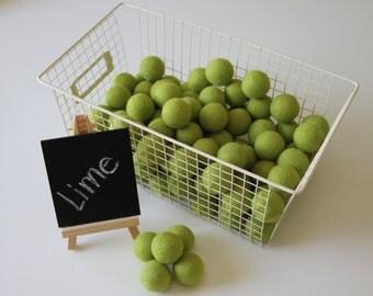 Felt Balls- Lime Green- 10 Pk- 30mm