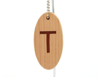 Personalized Initial Key Chain, Wood Letter T Keychain, Single Inital Key Fob, Personalized Accessories, Hand Cut Scroll Saw, Cherry