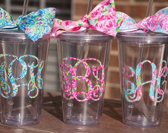 Lilly Monogrammed Straw Tumbler - Bridesmaid Gift - Monogrammed Cup  - Lilly Pulitzer Inspired - Personalized Tumbler