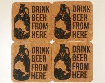 Drink Beer From Here - Ontario - 4 Coaster Set