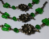 4 Sectional Brass Bead Chains with Vintage Emerald Green Butterfly, Round Glass Beads, Brass Daisy Connector and  Brass Loops,. DIY Supply