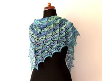 cotton scarf, blue green, leaf motif, handknit, triangle shawl, beach scarf, summer cover up