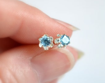 Blue Topaz Stud Earrings, Child, Real Genuine Gemstone, 4mm, Sterling Silver Post, December Birthstone Jewelry for Girls