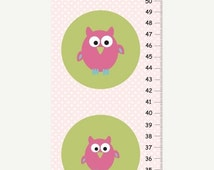 ON SALE 20% OFF Personalized pink owls Growth Chart for girls