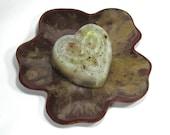 Ceramic Soap Dish, Flower Plate - Romantic Love in Burgundy with Cream Center (Dessert Plate, Trinket Dish, Soap Dish, Hostess Gift)