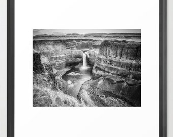 Scenic Photography, Paloose Falls, Waterfall, Scenic, Black and White, Landscape Photography, Fine Art Photography, fPOE, (6 Sizes)