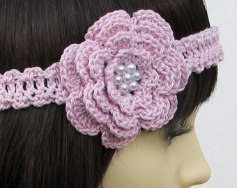 Crochet pattern for Flower Headband, any size baby to adult - INSTANT DOWNLOAD .pdf