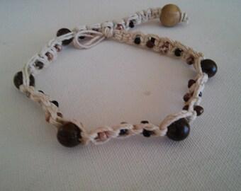 small hemp necklace/hemp choker/hippie necklace/beaded necklace/beaded choker/petite choker