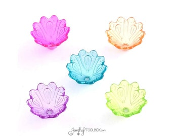 Transparent Flower Bead Caps, Mixed Color Collection, Acrylic Flower Bead,  10x15mm, 2mm hole, Lot Size 30 to 100, #901
