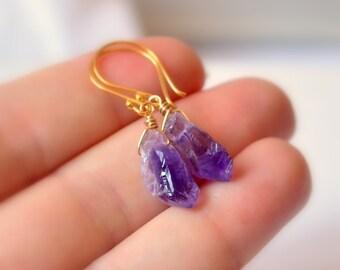 NEW Rough Amethyst Earrings, Gold Vermeil, Drop Earrings, Raw Purple Gemstone, February Birthstone Jewelry, Free Shipping