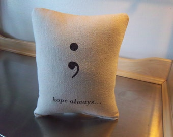Inspirational gift pillow hope throw pillow semicolon typography cushion empowerment gift  minimalist cotton pillows bedroom home decor