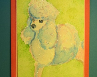 "POODLE DOG CARD (Standard and Miniature) Original Handmand Watercolor (""Blank Inside"")"