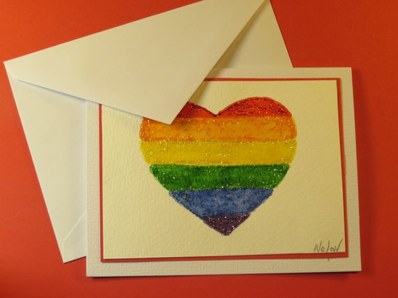"RAINBOW HEART FLAG, Original Watercolor Card (""I Love You"" Inside)"