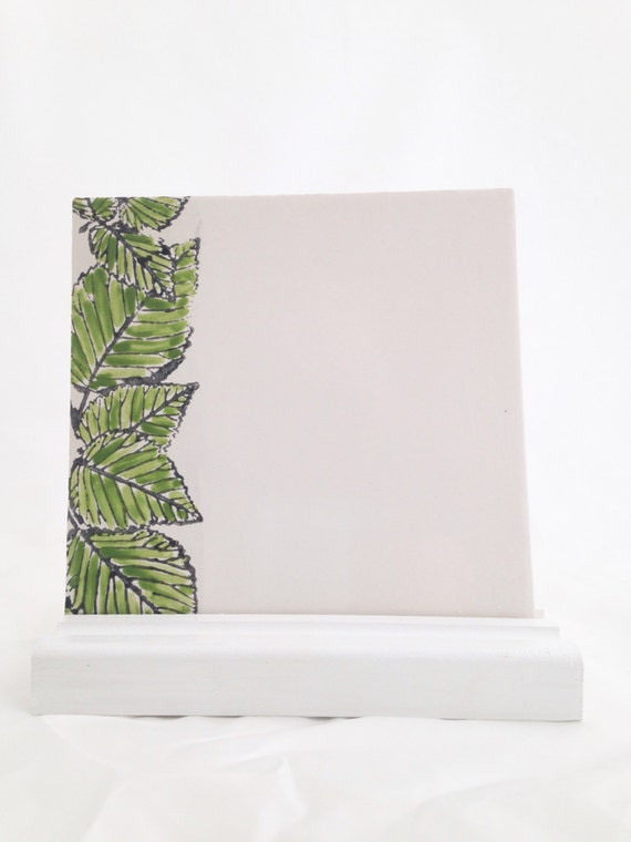 Dry Erase Board Ceramic Tile - Green Leaves - Wooden Optional Stand and Marker
