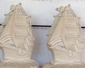 Vintage 1930's Metal White Shabby Chic  Beach Decor Ship Nautical Bookends