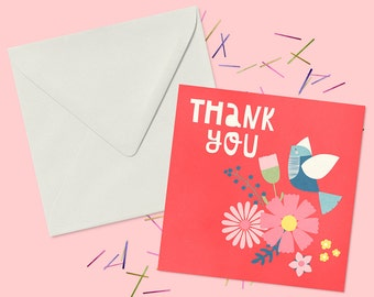 Thank You Card With Flowers and Bird - Blank Greeting Card Suitable For A Personal Message