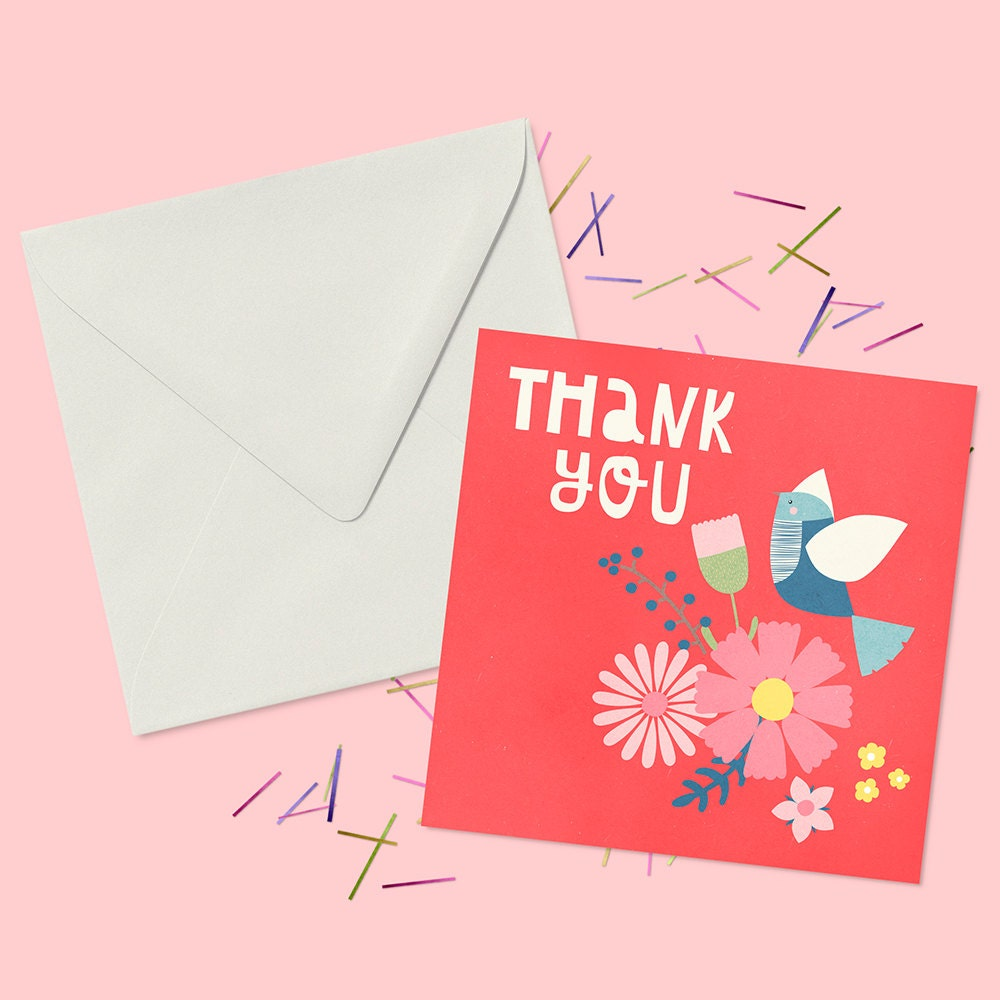 thank you card with flowers and bird blank greeting card