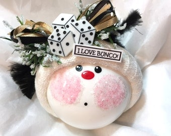 Bunco Christmas Ornaments Custom Hand Painted White Glass Handmade Personalized Themed by Townsend Custom Gifts Black Feathers - BackRoom H