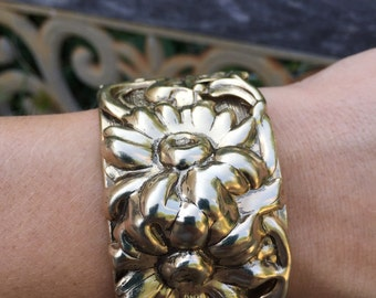 Vintage Floral Cuff Bracelet Chunky Metal