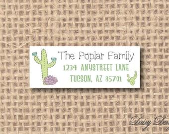 Return Address Labels - Cactus Desert American Southwest - 120 self-sticking labels