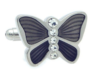Black Butterfly with Crystal Cufflinks