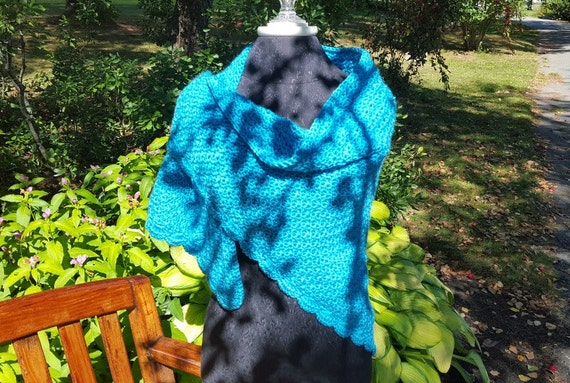 Blue mint hand crocheted shawl, fall warm shawl, aqua blue crocheted shawl- READY TO SHIP