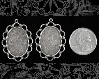 Lacy Antiqued Silver Plated Brass Cameo 24x18mm Frames  - Set of Two  S-F33