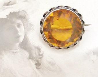 Victorian lace pin, silver and dark citrine paste