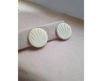 Minimalist bone earrings. Carved bone clip-on earrings