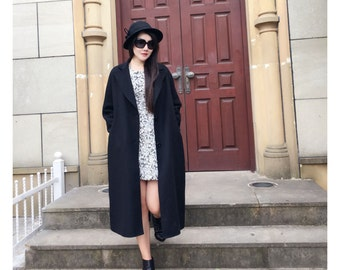 Free Style Double- Faced/ Sided  Cashmere and Wool Blend Long Jacket/Elegant Cocoon Oversize Winter Coat /15 Colors / RAMIES