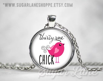 20% Off w/Coupon - Thirty-One Chick Necklace - Glass Dome Necklace - 31 - Thirty One Jewelry - Thirty One Pendant