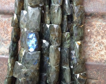 STUNNING! Large Faceted Square Pillow Shaped Blue Green Grey LABRADORITE Full Strand Beads Semi-Precious Gemstone.. So Sparkly and Shiny!