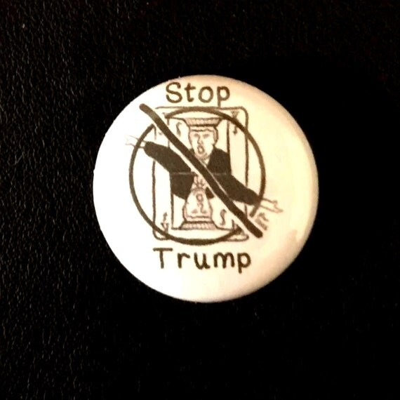 Stop Trump buttons Black and White Stop Trump Small Words Anti-Trump Badge Anti-Donald Trump Pin Anti-Fascism Democrat Political Punk Button