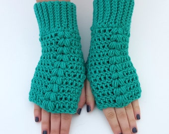 Texting Gloves - Turquoise Fingerless Mittens - Turquoise Fingerless Gloves