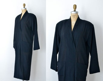 1980s Norma Kamali Dress / 80s black gauze dress