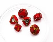 Vintage Molded Diminutive Ornate Red Glass Button Group, 9-10mm, Self Shank, 6pc/Group